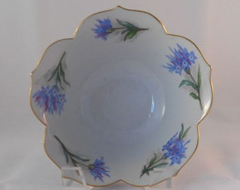 Vintage 1962 Vera Taylor Petal Bowl with Purple Flowers