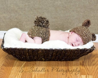 Newborn Bear Hat & Diaper Cover Set