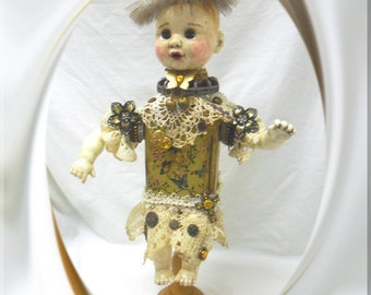 Art doll, repurposed, recycled, assemblage, altered,  OOAK,