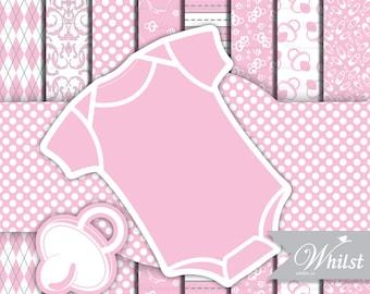 Baby clip art, shower digital paper, Girl clip art, baby digital frames, pink craft supplies printables : p0200 3s3750