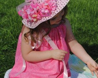 Tea Party Hat - Easter Hat - PINK Easter Bonnet - Fancy Nancy Hat - FLOWER GiRL Hat - Child spring hat - Girl Sun Hat - Easter Gift for Girl
