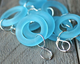 Bombay Sapphire Gin Hoop Earrings | Upcycled Glass Bottle Jewelry