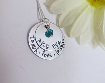 TEACHER Necklace - Personalized Name Jewelry with birthstone -Graduation gift -   Gift Box included-Teach Love Inspire- Sterling Silver