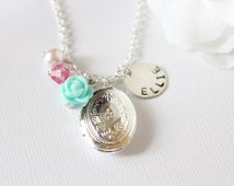 Girls Personalized Sterling Silver Name Charm, Silver Oval Locket, Girls Necklace, Flower Girl Gift, Personalized Gift FREE Gift Packaging