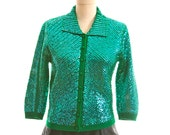 Green Emerald Sweater Beaded Size Small