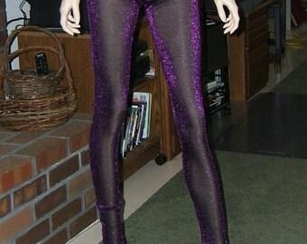 Sizzling Purple metallic leggings sheer Womens size Small