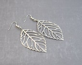 Silver Leaf Earrings - Large Silver Earrings - Leaf Jewelry - Large Leaf Earrings - Bridesmaid Jewelry - Nature Earrings - Fall Earrings