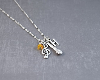 Microphone Necklace - Music Pendant - Silver Music Necklace - Microphone Pendant - Initial Jewelry - Personalized Birthstone Necklace