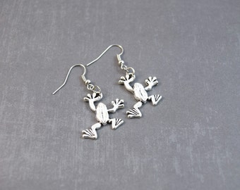 Frog Earrings - Frog Jewelry - Silver Frog Charm - Science Earrings - Animal Earrings - Animal Jewelry - Frog Lover