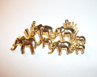 vintage Elephant Herd pin