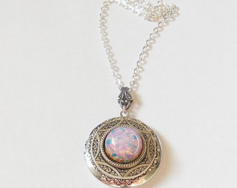 Mothers Day Gift Silver Locket  necklace. Pink  Fire Opal   Necklace--photo locket -gift for her-opal necklace.silver locket bridesmaid gift