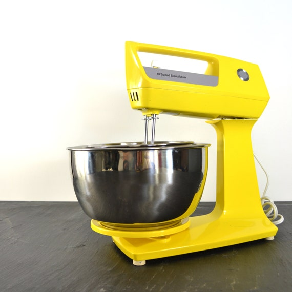 Yellow Small Kitchen Appliances: Vintage Yellow Stand Mixer JCPenney Kitchen Appliance