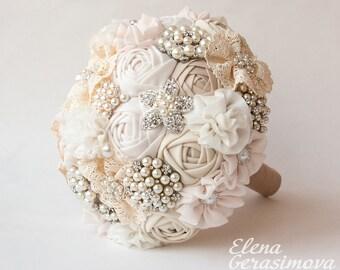 SALE!!! Brooch Bouquet. Ivory Fabric Bouquet, Vintage Bouquet, Rustic Bouquet, Unique Wedding Bridal Bouquet