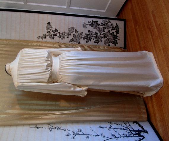 vintage 30s 40s deco style ivory silk dressing gown robe