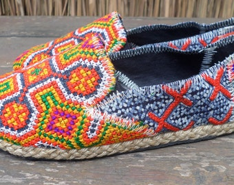 Womens Shoes Vegan Espadrilles Orange Hmong Embroidered Loafers With Indigo Batik - Morgan