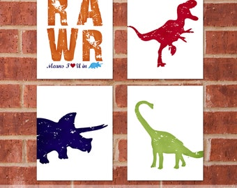 Dinosaur Canvas - Set of four 11x14 - TRex Triceratops - Dinosaur Room - Designer Set 9