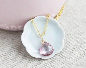 Pink Quartz Necklace, Dainty Gemstone Necklace, Mystic Pink Quartz, Pink Weddings, Pink Bridesmaids Jewelry