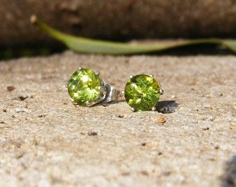 6mm Peridot & Sterling Silver Stud Earrings