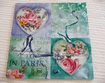 Decoupage napkins, hearts, roses, Valentine, teal, love, Paris, writings, vintage, pastel, Mixed Media, Scrapbooking, Collage, mint, 1 pc