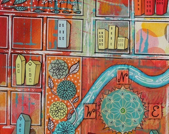 Map Art, City with Streets, River, Parks, Buildings, Houses, Original Mixed Media Painting, Illustration, Compass Rose, Warm Colors