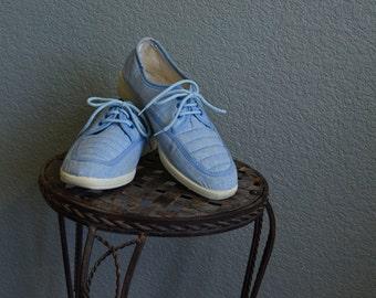 1970s platform stacked baby blue denim sneaker loafers