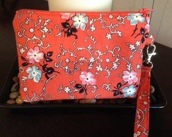 Wristlet, Make-up Bag, Purse, Cosmetic Bag, Organizer, Coral, Flowers