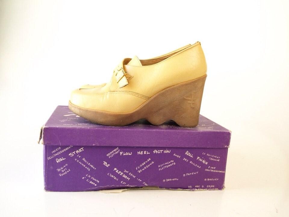 vintage 70s famolare platform s wedge shoes heels hi