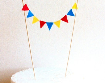Circus theme Cake Topper Cake Bunting - Red, Blue, Yellow Superhero Birthday party Mini Cake bunting, Carnival Circus theme party decoration