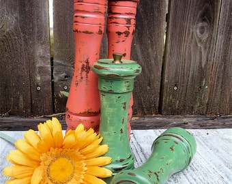 Coral Pink - TALL Shabby Chic Turned Wood Salt and Pepper Mill Set - Bright Coral PInk