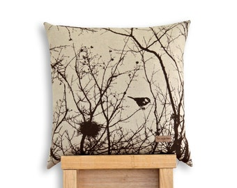 Winter Nest Cushion Cover in Chocolate Brown or Black.