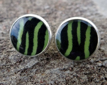 Green Zebra Silver Stud Earrings - Vintage, Rockabilly, Psychobilly - Poofhawk