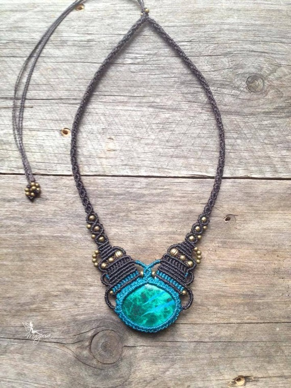 Items similar to micro macrame necklace oval stone for Unique stones for jewelry making