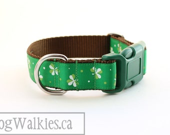 "Green Shamrocks Dog Collar - 1"" (25mm) Wide - St. Patrick 's Day - Quick Release or Martingale Dog Collar - Choice of collar style and size"