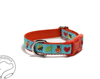 "I <3 Mushrooms Fall Dog Collar - 3/4"" (19mm) Wide - Martingale or Quick Side Release - Choice of style and size // Orange // Aqua"