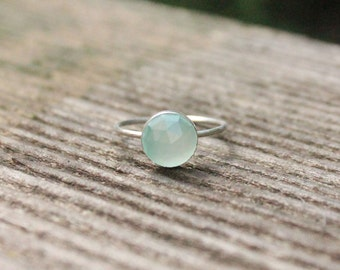 8mm Faceted Aqua Blue Chalcedony and Sterling Silver Stacking Ring - custom made to size