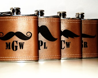 Custom Groomsmen Monogrammed Personalized Leather Wrapped Flasks - Set of 10 - Personalized gift for groomsmen , Groomsman Flask Usher Gift