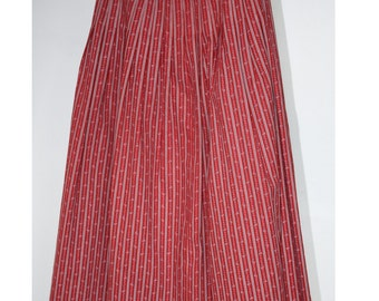 Cranberry Drindl SKIRT // Striped Floral Drindl Pleated //  Cotton Skirt // Teen Girls Vintage // Size Extra Small