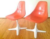 Mid Century Modern Orange Chair Furniture, Mid Century Modern Decor, Armless Chair, Back to School Chairs, Fiberglass Chair Burke Base,