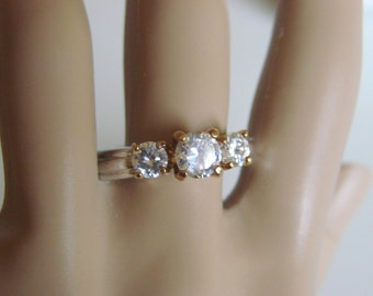 Uncas Size 12 Cubic Zirconia Cocktail Ring / Designer Signed / Signed S. P. Lind / Vintage Jewelry