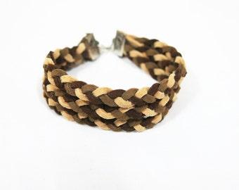 Light Brown Shading Leather  Bracelet, Braid Bracelet, Braid Leather Bracelet, Twist Bracelet, Brown Braid Bracelet, Multistrance Bracelet
