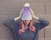 sale POM POM HAT /  purple ombre / white pom pom beanie / slouchy slouch hat / petite / hand dyed / dip dye