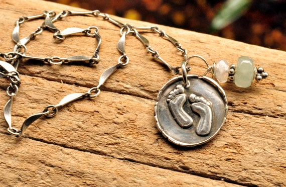 items similar to custom wax seal jewelry with meaning rustic footprints necklace religious. Black Bedroom Furniture Sets. Home Design Ideas