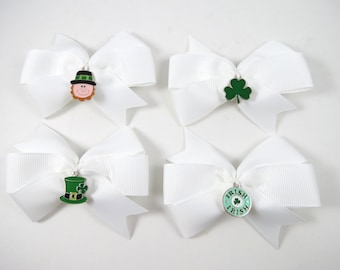 St Patricks Day Hair Bow - St Patricks Day Clips - Charm Hair Bow - Pigtail Hair Bows - Small Hair Bow - Toddler Teenager Adult Hair Clips
