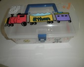 Train Holder  Portable Gift Personalized Toy Boxes Thomas the Train Organizer Decorated Tote Carryall On the Go