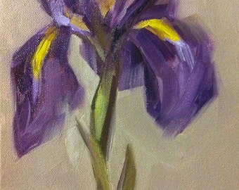 Original Oil Painting Purple Iris