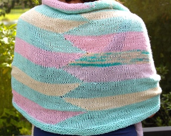SALE Hand Knit Designer Shawl, in Hand spun Hand Dyed Sea Blue, Ivory and pink, more, of wool silk