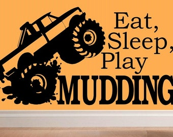 wall decal kids Eat sleep play Mudding decal 4x4 off roading monster truck decor nursery decal sport decal boy decal home decor man cave