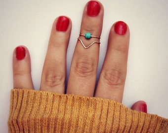 sterling silver knuckle rings, midi rings, silver midi ringschevron knuckle rings, turquoise ring, stacking rings, ring set, chevron ring