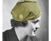 1930s Knockabout Turban Hat with Buttons- Crochet pattern PDF 3044