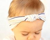 Baby White Multi Color Turban Headband, Striped Knot Turban Headband, Baby Blue Headband, Baby Hair Accessory, Baby Turban, Easter Turban